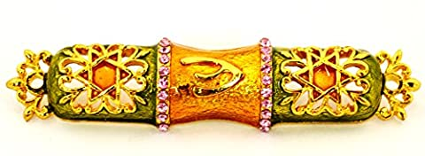 Ciel Collectables Decorative Mezuzah with Star of David, Hand Set Pink Swarovski Crystal, Hand Pained Green Enamel Over Solid Pewter Base, Comes in A Beautiful Gift Box