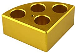 Scilogex 18900049 Quarter Reaction Block For 16 Ml Reaction Vessel 21.6 Mmdia, 31.7 Mmheight, 6 Holes, Gold