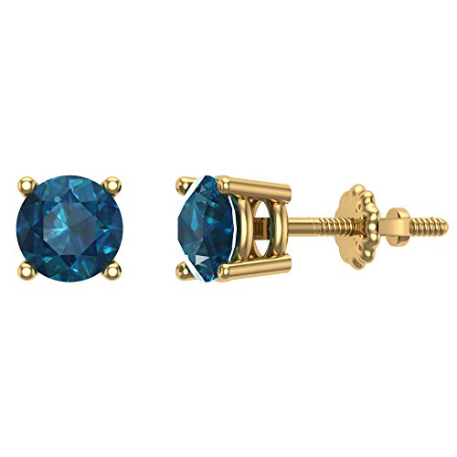 0.42 ct tw Blue I1-I2 Natural Round Diamond Studs 14K Gold Screw Back (0.42 Ct Round Diamond)