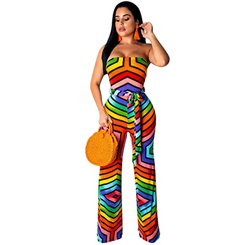 Womens Off Shoulder Jumpsuits - Rainbow Striped Wide Leg with Belted Rompers Multicoloured L ()
