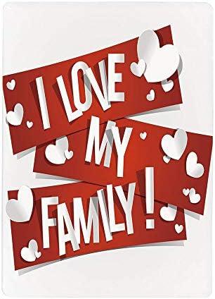 壁紙 絵画風ポスター (はがせるシール式) 家族、家族愛メッセージと白い心の情熱的なイラスト、赤と白の赤い旗60x100cm 風景 いろいろ