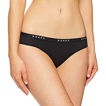 Bonds Women's Underwear Cotton Blend Originals Bikini Brief, Black, 8