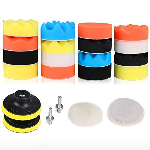 Kit de almohadillas de pulido de taladro de espuma para pulidora de coche RilexA while de 3 pulgadas / 80 mm, kit de almohadillas de esponja para pulir, pulir, encerar y sellar el coche