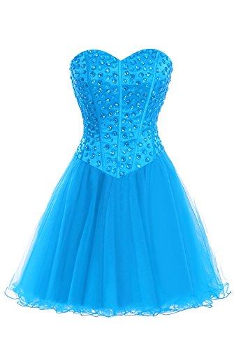 Beaded Short Dress Skirt Prom Dasior Tulle Cocktail Homecoming Ocean q5IBWwd