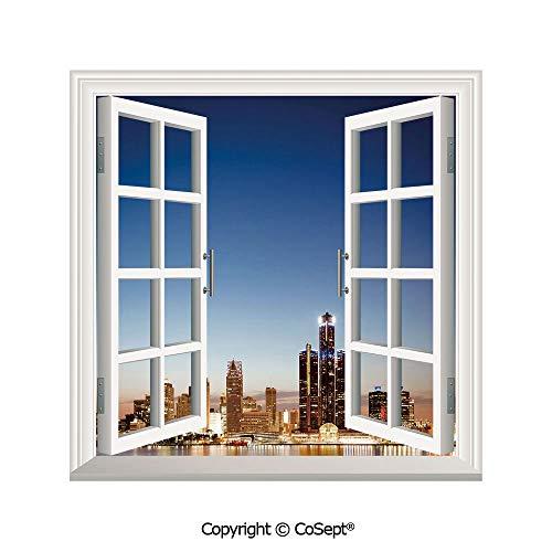 - SCOXIXI Creative Window View Wall Decor,Michigan Skyline at Twilight Waterfront Lively City Serene Travel Destination Decorative,Window Stickers Have Beautiful Scenery(26.65x20 inch)