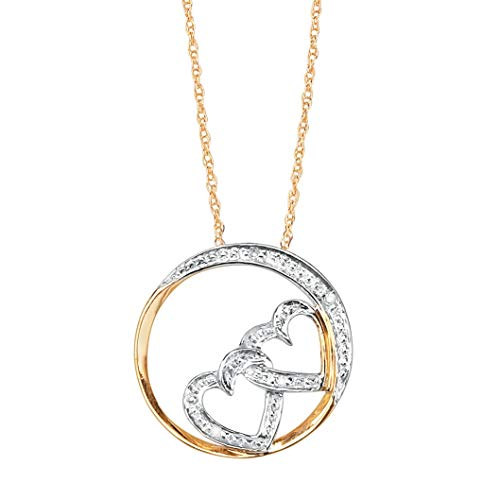Solid 10K Yellow Gold Diamond Accent Double Heart Slide Pendant with Rope Chain, 16
