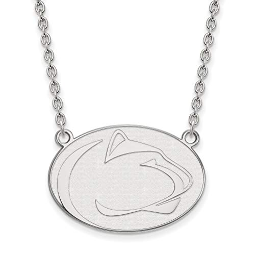 10k White Gold Penn State University Nittany Lions Mascot Pendant Necklace 21x28mm 18 Inches