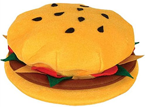 New Plush Hamburger Cheeseburger Hat Costume Party Cap Tan ()