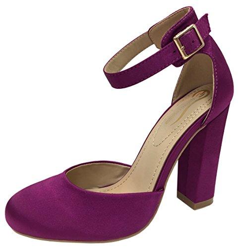 en's Mary Jane Platform Ankle Strap Pump (7 B(M) US, Purple) ()