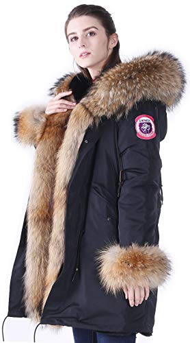 S.ROMZA Women's Winter Fur Parka Coat Large Real Raccoon Fur Trimmed Warm Faux Fur Lined Waterproof Jacket (L/10-12, Black & Khaki)