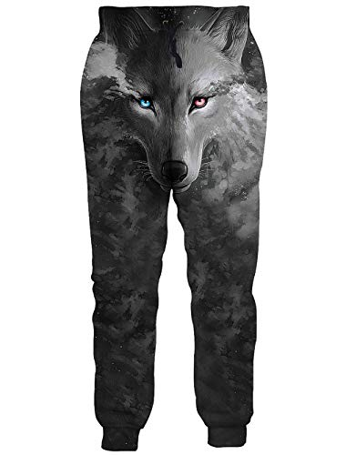 RAISEVERN Unisex Jogger Pants Galaxy Sweatpants Sportswear Grey Wolf Gym Trousers with Pocket for Men &Women