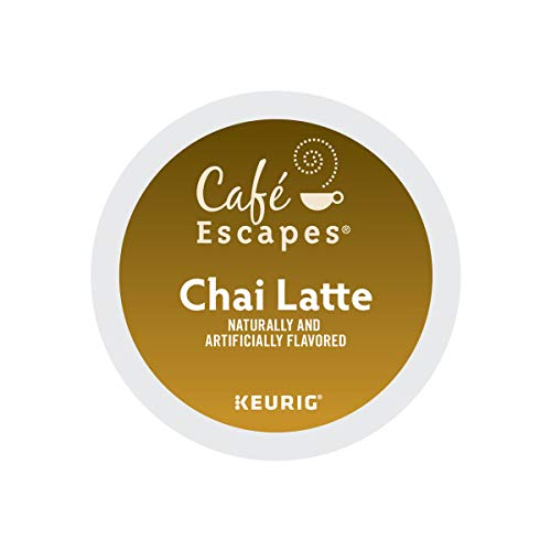 Cafe Escapes, Chai Latte Tea Beverage, Single-Serve Keurig K-Cup Pods, 72 Count (3 Boxes of 24 Pods)