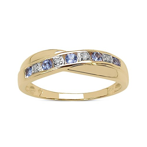Der Diamant-Ring-Kollektion: 9ct Gold-Tansanit und Diamant Eternity Ring Crossover-Spiel, Ringgröße 58