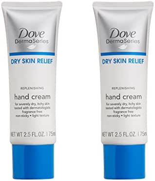 Dove Dermaseries Fragrance-Free Hand Cream for Dry Skin, 2.5 Ounce (Pack of 2)
