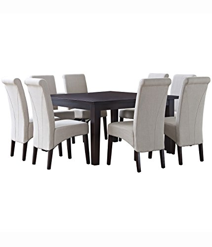 Simpli Home AXCDS9-AVL-NL Avalon Contemporary 9 Piece Dining Set with 6 Upholstered Dining Chairs in Natural Linen Look Fabric and 54 inch wide Table