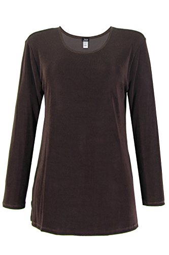 Jostar Acetate V-neck Vented Top with Long Sleeve in Brown Color in Medium (Acetate Blouse)