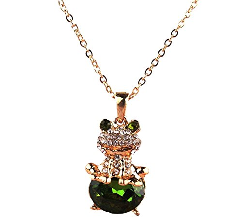 DianaL Boutique Adorable Funny 3D Frog Pendant Necklace Emerald Green (Emerald Frog Pendant)