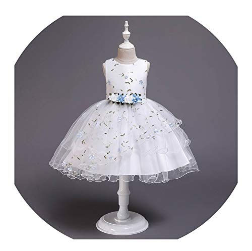 Sleeveless Dresses Girls'School Show Dresses Girls' Children's Clothing Babies'First Baptismal Dresses, Sky Blue,5 ()