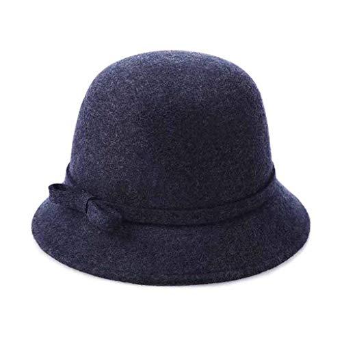 Wool Felt Fedora Hat Retro Bowknot Wide Brim Bowler Cloche Cap