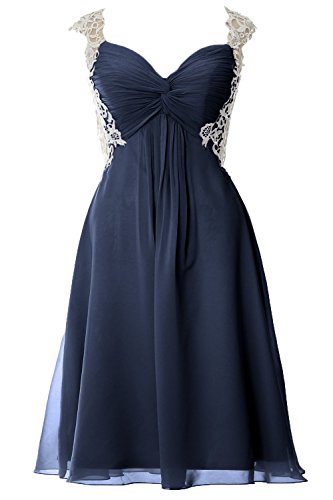 MACloth Women Lace Straps Chiffon Short Prom Dress Formal Party Evening Gown Azul Marino Oscuro
