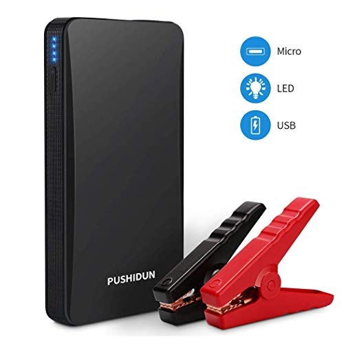 Portable Car Jump Starter Kit 6000mAh 400A Peak (Up to 2.5L Gas Car) Ultra-thin Mini Auto Battery Booster Jumper Emergency Power Pack with Smart Charging Port & LED Flashlight in 3 Modes