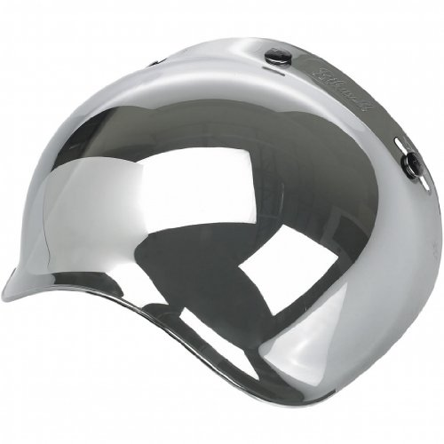 Mirror Smoke Helmet Shield - Biltwell Smoke Tint Bubble Shield (Chrome Mirror, One Size)