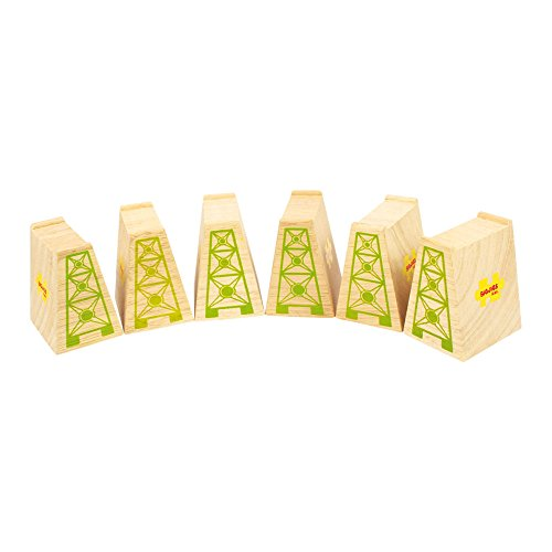 Bigjigs Rail High Level Blocks (Pack of 6) - Other Major Wooden Rail Brands are Compatible (Riser Bridge)