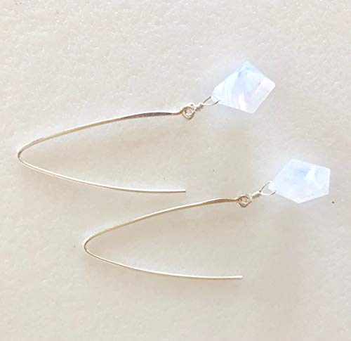 Rainbow Moonstone Earrings, Fancy Cut Geometric Shape, Blue Flash, Natural Moonstone, June Brithstone, Bridal, Sterling Silver, Gold Vermeil.