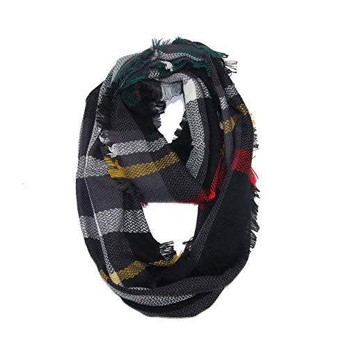 UONQD Women Winter Warm Plaid Ring Neck Warmer Wrap Collar Scarf -
