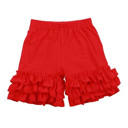 Slowera Baby Girls Cotton Ruffles Shorts Pants (Red, 3-4 Years) ()