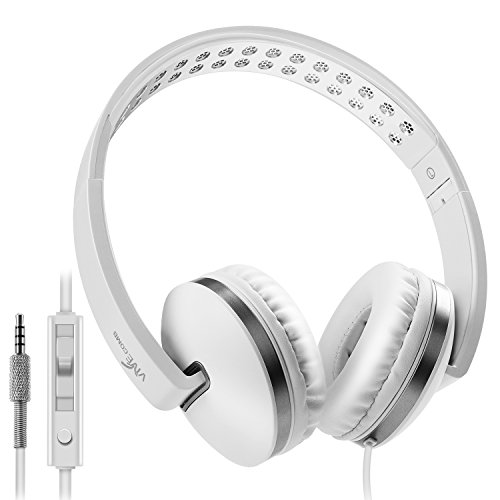Foldable Headphones with Microphone, Vive Comb Stereo Lightweight Adjustable PC Headset Wired Headphones with Volume Control for Tablet, Smartphones, Video Game, (Lightweight Comb)