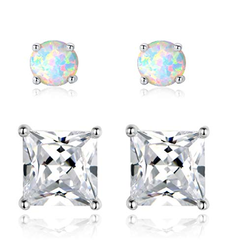 - 18K White Gold Plated 3mm Opal and 7mm Pricess Cut Cubic Zirconia Created Stud Earrings Pack of 2