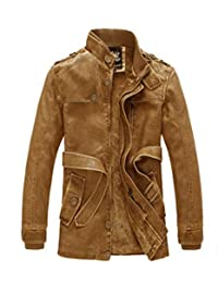 Men's Brushed Wool Zipped Stand Collar Fashion PU Leather Jacket Coat
