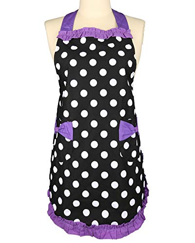 """Kitchen Cooking Apron for Women Girls Retro Funny Adjustable Chef Bib Apron - 31"""" x 28"""" Black/Purple Polka Dots for Cooking BBQ Baking"""