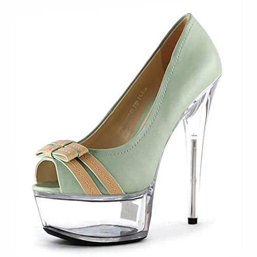 Fine L YC Mouth Shoes Single Size Party Fish Bow With Heels Crystal Blue Big High Dress 15cm Women'S xS0AwqvrSd