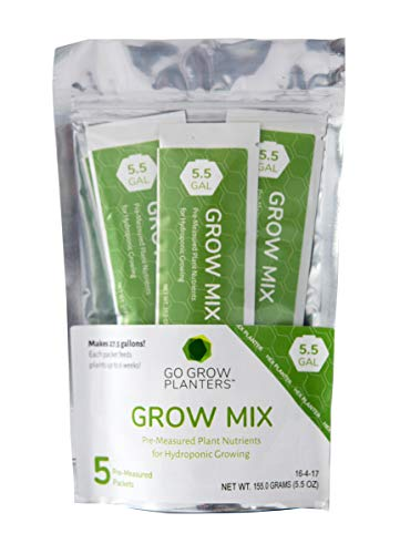 Go Grow Hydroponic Plant Food - Indoor/Outdoor Gardening Nutrients and Supplies for Non-GMO Herbs, Flowers, and Leafy Greens. 16-4-17 Formula Hydro or Traditional Soil Growing; 5-Pack