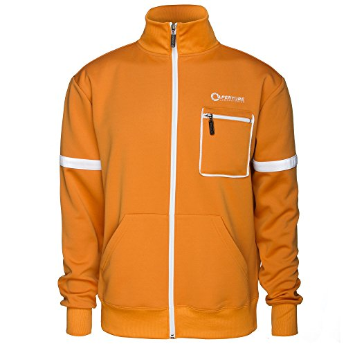 JINX Portal 2 Men's Aperture 80's Test Subject Premium Track Jacket (Orange, X-Large)