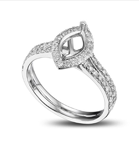 GOWE 5x8mm Marquise Cut 14K Gold Pave Diamond Engagement Wedding Semi Mount Ring (Mount Marquise Semi Setting Ring)