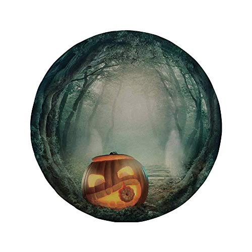 Non-Slip Rubber Round Mouse Pad,Halloween Decorations,Scary Halloween Pumpkin Enchanted Forest Mystic Twilight Party Art,Orange Teal,7.87