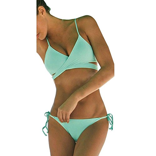 NewKelly Women Sexy Push Up Padded Bra Bandage Bikini Set Swimsuit Triangle Bathing Suit (Green, S)