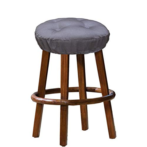 Cotton Craft - 100% Cotton Twill Bar Stool Cover 2 Pack - Charcoal - 12 Inch Round - Tufted Stool Cover is Filled with Comfortable 100% Poly Fill and has an Elastic Skirt to Keep it Locked in Place ()