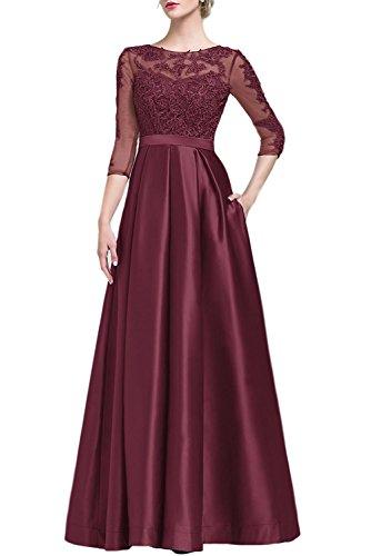 Line Burgundy Brautjungfernkleider Festkleider Kleider Cocktail Applikation Spitze Abendkleider Lang A f7q5fRB