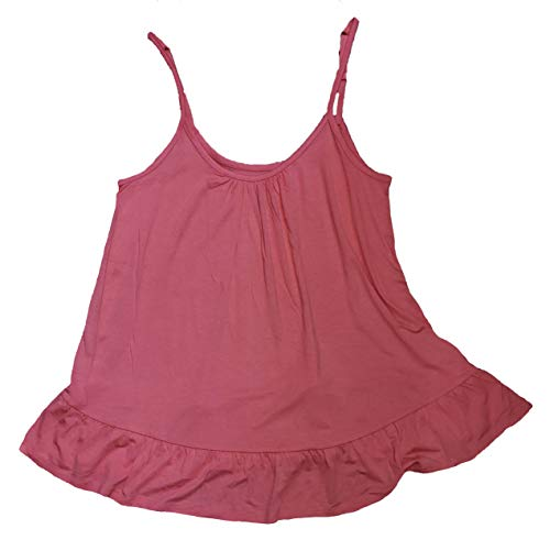 Coral Silk Ruffle Sleeve Sleep Cami - Large Orange ()