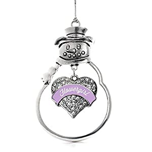 Inspired Silver - Lavender Flower Girl Charm Ornament - Silver Pave Heart Charm Snowman Ornament with Cubic Zirconia Jewelry 89