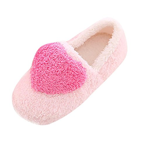 Ladies Womens Girl Indoor Warm Fleece Slippers,Kintaz Winter Cotton Cozy Booties Non-slip Plush Mules Home Bedroom Slip-on Shoes Ankle Boots (Pink, US:7.5-8)