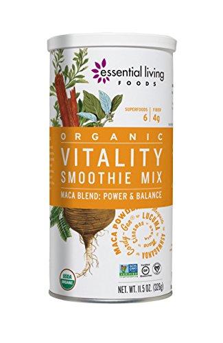 Essential Living Foods Organic Vitality Maca Blend Smoothie Mix, With Ashwagandha, Cordy-Gen, Mesquite, Lucuma, Adaptogen, Vegan, Superfood, Non-GMO, Gluten Free, Kosher, 11.5 Ounce Tin