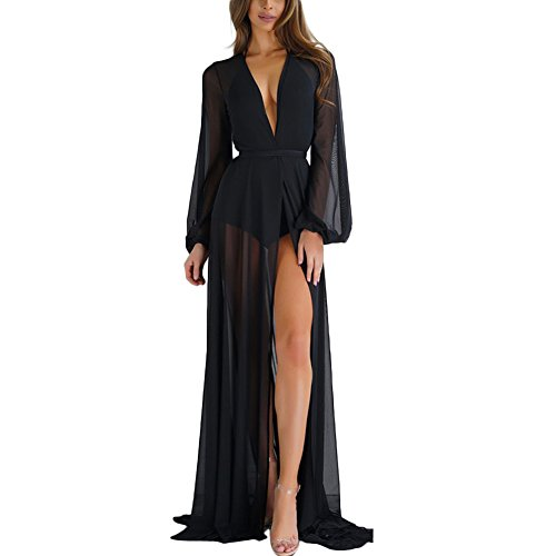 Tianzek Womens Sexy Long Sleeve Sheer Long Cardigan Beach Bikini Cover up With Belt (Black, US 8-10/Asia L/XL)