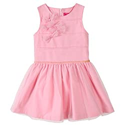 Bonny Billy Girl's O-neck Bowknots Applique Sleeveless Princess Gauze Tutu Fall Dress Pink