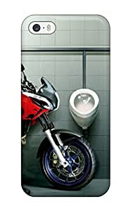 Iphone 5/5s Case, Premium Protective Case With Awesome Look - Funny Motorcyclist At Bathroom