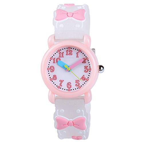 (Venhoo Kids Watches Cartoon Waterproof Silicone Children Wristwatches Time Teacher Gifts for Girls (Pink Bow Tie))